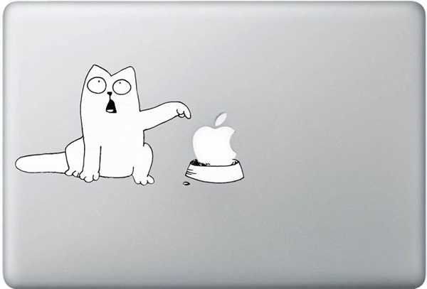 white cat macbook decals