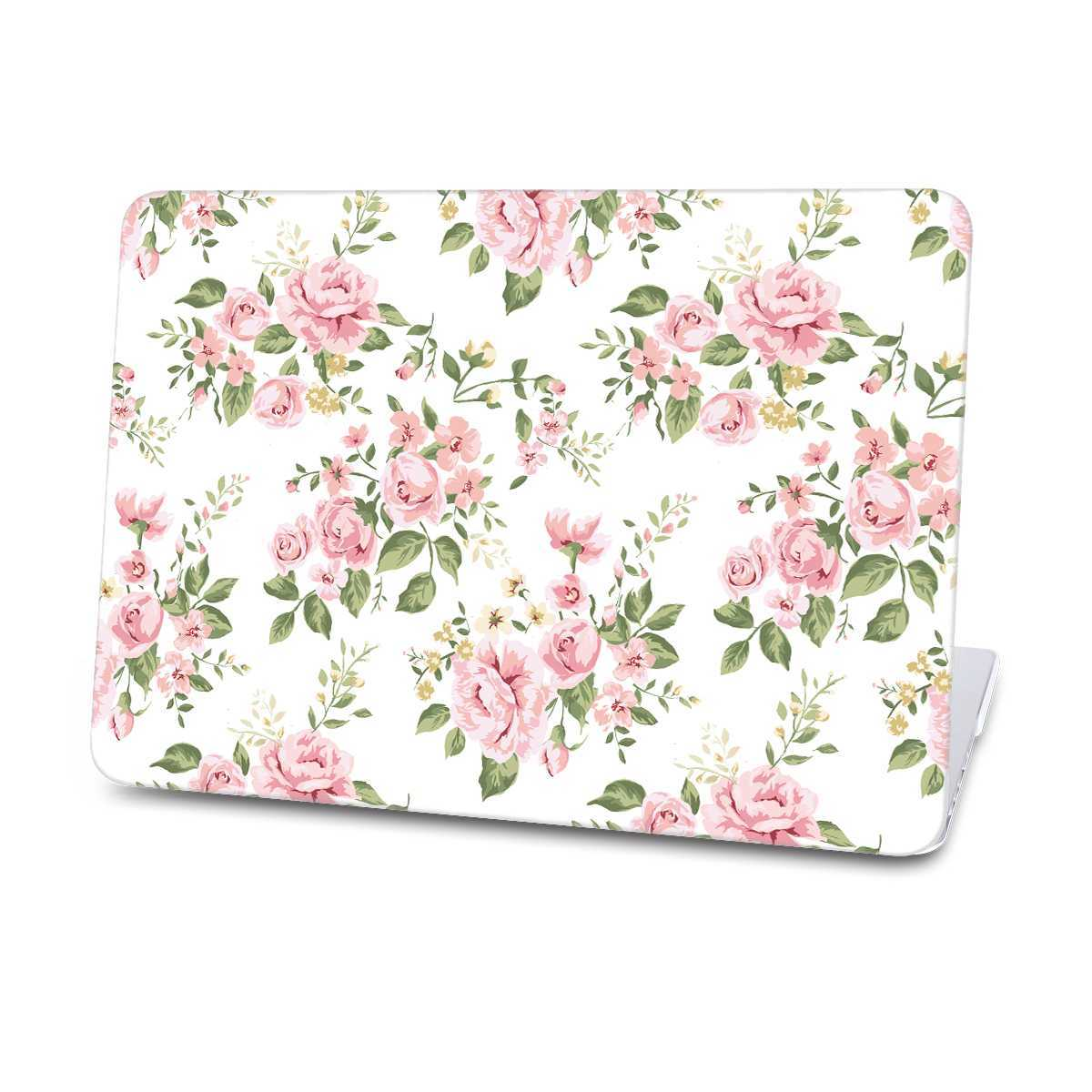 white flower macbook case