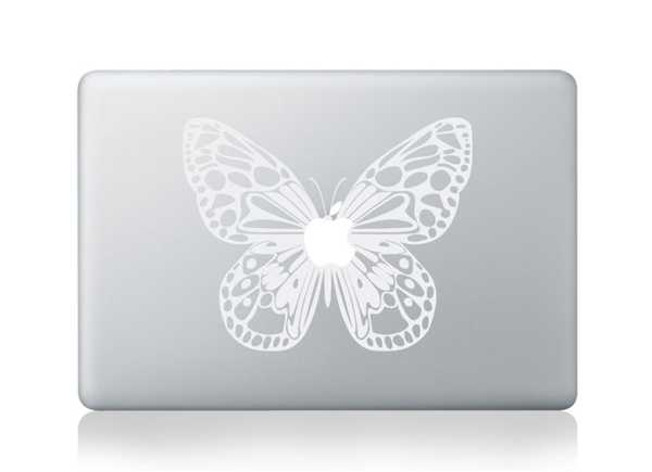 white butterfly macbook decals